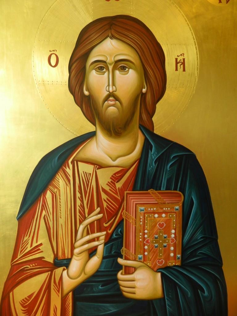 Icoana Imparateasca Domnul Iisus Hristos- DETALIU-Icoana realizata pe lemn, in stil bizantin,  cu foita de aur de 22k. Dimensiune 106X75  cm