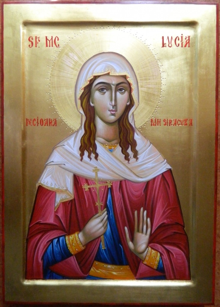 Sfanta Lucia din Siracuza- Icoana pe lemn, realizata in stil bizantin, cu foita de aur de 22k. Dimensiune 30 X42cm
