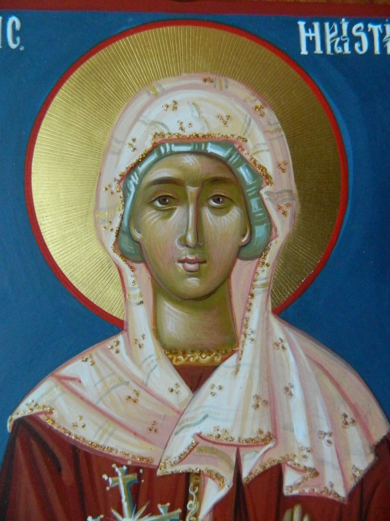 Sfanta Mucenita Hristina- Icoana realizata pe lemn, in stil bizantin cu foita de aur de 22k.  Dimensiune A5 21X15 cm