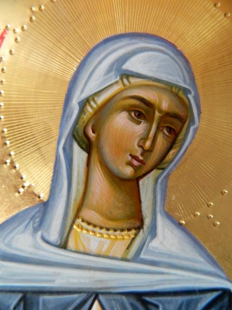 Sfanta Cuvioasa Teodora de la Sihla_ DETALIU-Icoana pe lemn, realizata in stil bizantin , cu foita de aur de 22k. Dimensiune A4