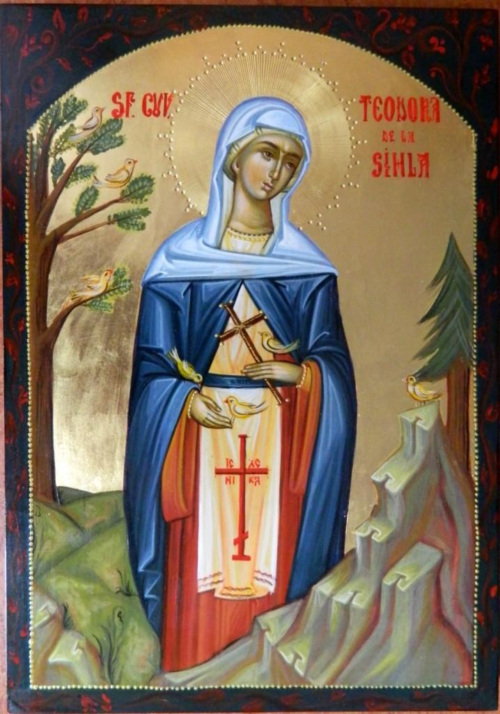 Sfanta Cuvioasa Teodora de la Sihla_ Icoana pe lemn, realizata in stil bizantin , cu foita de aur de 22k. Dimensiune A4