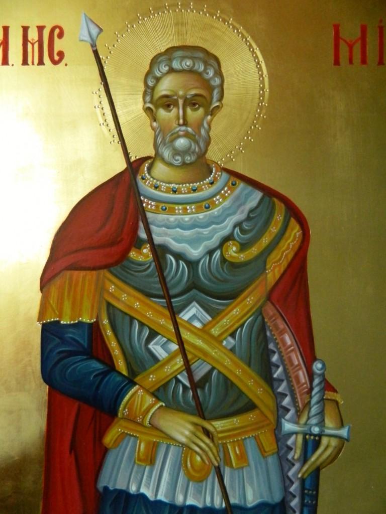Sfantul Mare Mucenic MINA- DETALIU-Icoana pe lemn, realizata in tehnica bizantina, cu foita de aur de 22k. Dimensiune 60X40 cm
