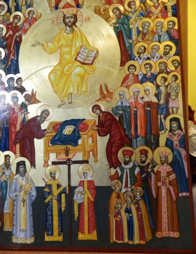 Adunarea Tuturor Sfintilor- Icoana pe lemn, realizata in tehnica bizantina, cu foita de aur de 22k. Dimensiune 106X 75 cm