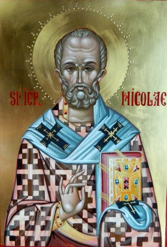 Sfantul Ierarh Nicolae- Icoana realizata pe lemn, tehnica bizantina, cu foita de aur de 22k. Dimensiune A4