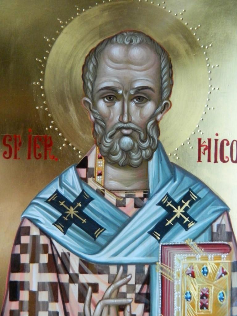 Sfantul Ierarh Nicolae- DETALIU_Icoana realizata pe lemn, tehnica bizantina, cu foita de aur de 22k. Dimensiune A4