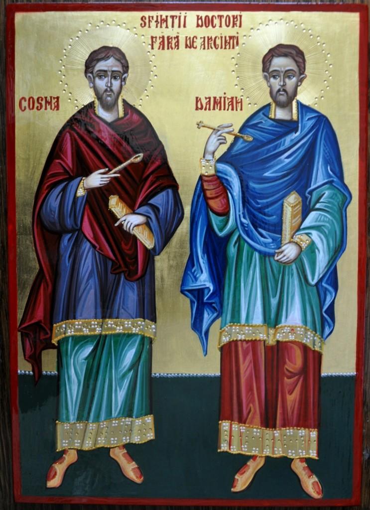 Sfintii Doctori fara Arginti COSMA SI DAMIAN- Icoana pe lemn realizata in tehnica bizantina cu foita de aur de 22k. Dimensiune A4
