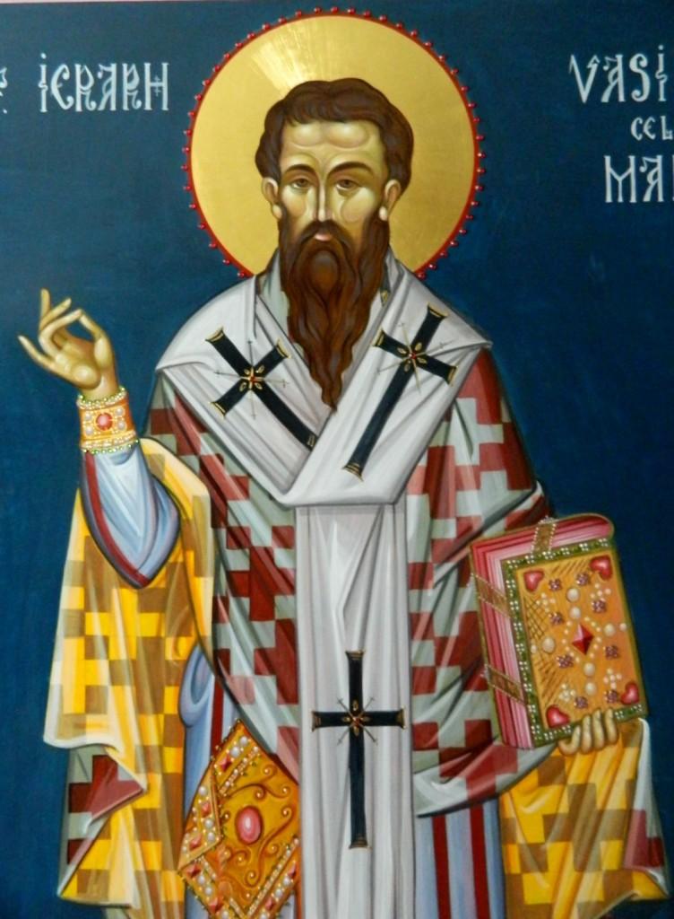 Sfantul Ierarh Vasile cel Mare- DETALIU_ Icoana pe lemn, realizata in tehnica bizantina, cu foita de aur de 22k. Dimensiune 116X68cm