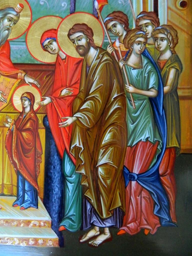Intrarea in Biserica a Maicii Domnului- DETALIU-Icoana realizata in stil bizantin, pe suport de lemn, cu foita de aur de 22k. Dimensiune A3, 30 X42cm.