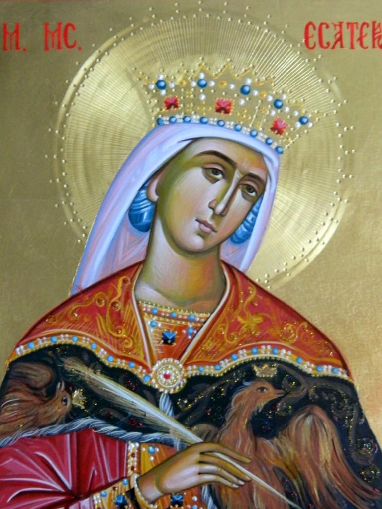Sfanta Mc Ecaterina- DETALIU-Icoana realizata pe lemn, in tehnica bizantina , cu foita de aur de 22k. Dimensiune A4