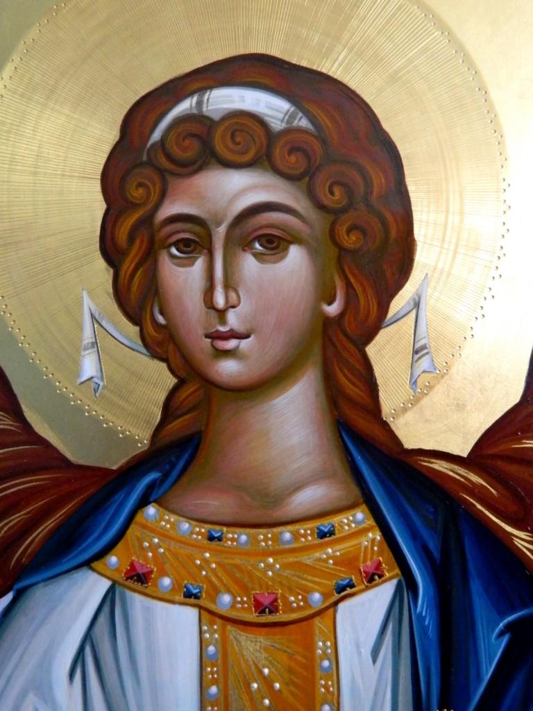 Sfintul Arhanghel Mihail - DETALIU-Usi Diaconesti- Icoane realizate pe lemn, tempera cu ou , in tehnica bizantina cu foita de aur de 22k.  Dimensiune 128 X70