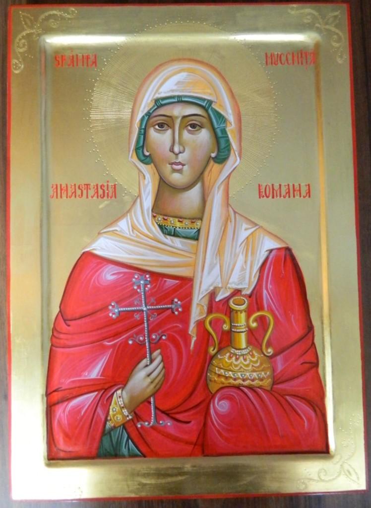 Sfanta Mucenita Anastasia Romana- Icoana pe lemn, realizata in stil bizantin cu foita de aur de 22k. Dimensiune A3 ( 42X30 cm)