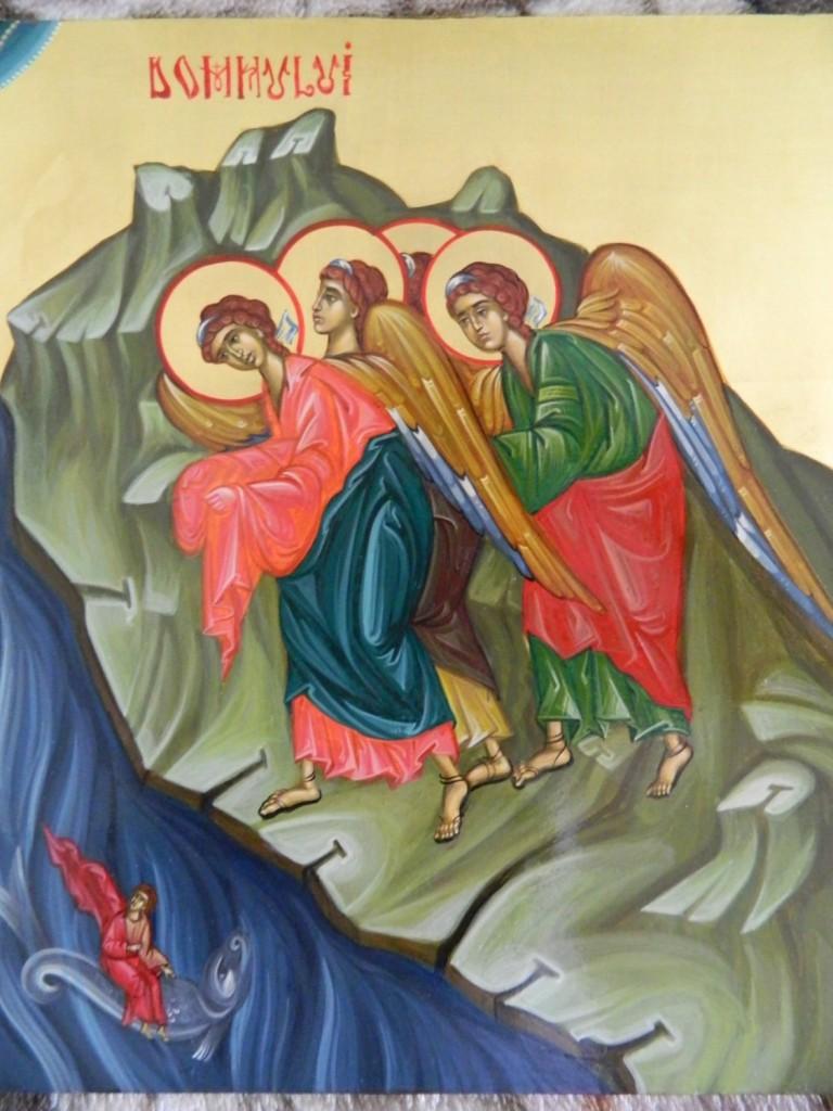 Botezul Domnului - Icoana pe lemn realizata in stil bizantin cu foita de aur de 22k.