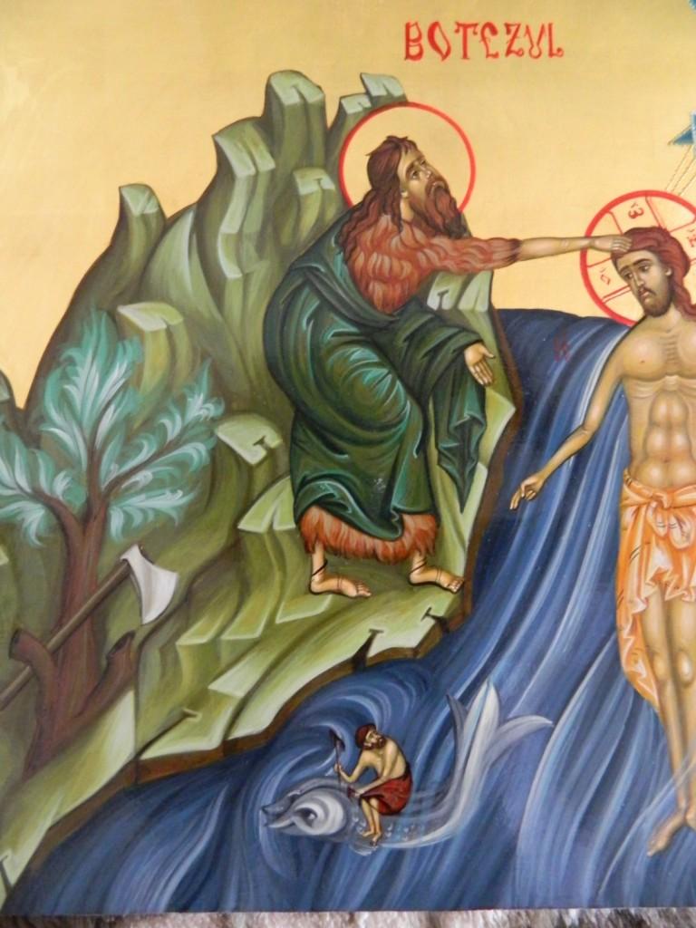 Botezul Domnului -DETALIU-  Icoana pe lemn realizata in stil bizantin cu foita de aur de 22k.