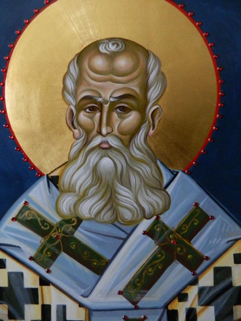 Sfantul Grigorie Teologul Detaliu- Icoana pe lemn, realizata in stil bizantin cu foita de aur de 22k, si aplicatii de pietre semipretioase. Dimensiune 116X68 cm