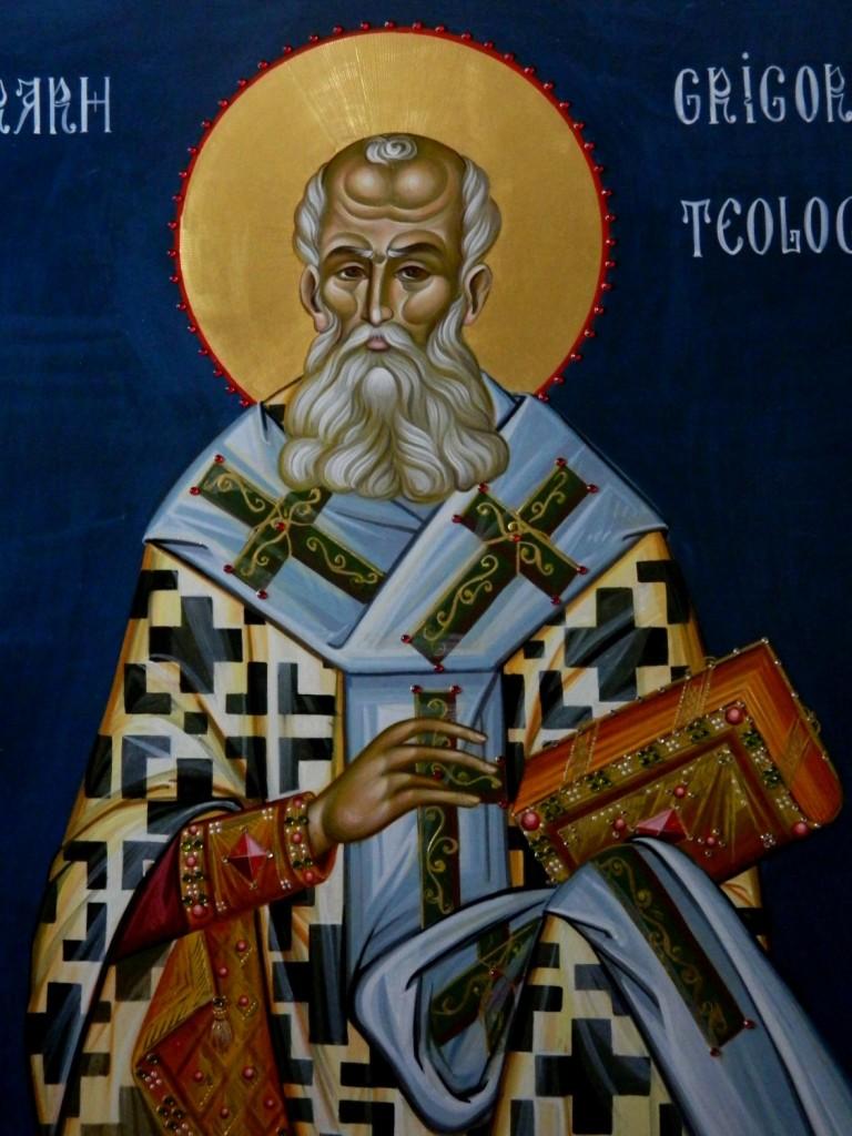 Sfantul Grigorie Teologul DETALIU_- Icoana pe lemn, realizata in stil bizantin cu foita de aur de 22k, si aplicatii de pietre semipretioase. Dimensiune 116X68 cm