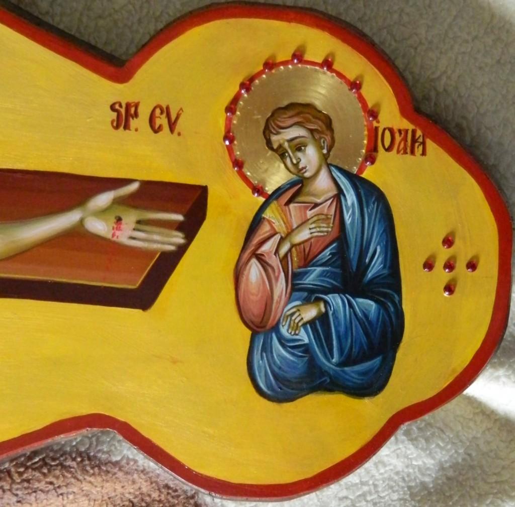 Sfanta Cruce - DETALIU_ Rastignirea Domnului- Realizata pe lemn, in tehnica bizantina, tempera cu ou. Dimensiune 120cm X70 cm