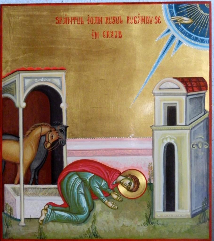 Sfantul Ioan Rusul, cu scene din viata- Icoana realizata pe lemn,in tehnica bizantina, cu foita de aur de 22k. Dimensiune panouri laterale 25x 27 cm.
