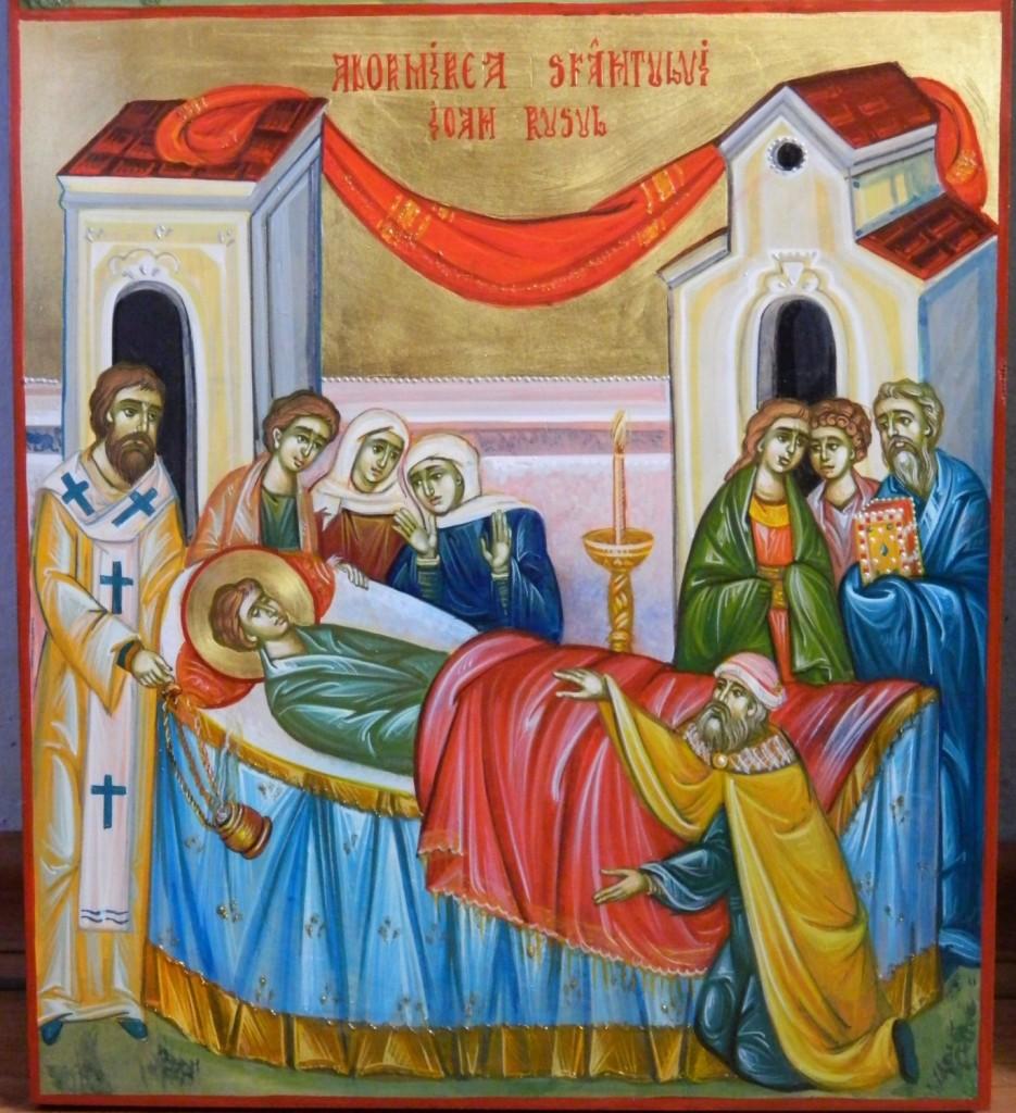 Sfantul Ioan Rusul, cu scene din viata- Icoana realizata pe lemn,in tehnica bizantina, cu foita de aur de 22k. Dimensiune scena 25x 27 cm.