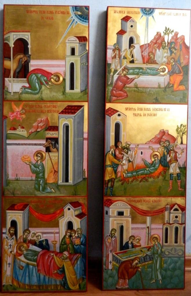 Sfantul Ioan Rusul, cu scene din viata- Icoane realizate pe lemn,in tehnica bizantina, cu foita de aur de 22k. Dimensiune panouri laterale 25x 85 cm
