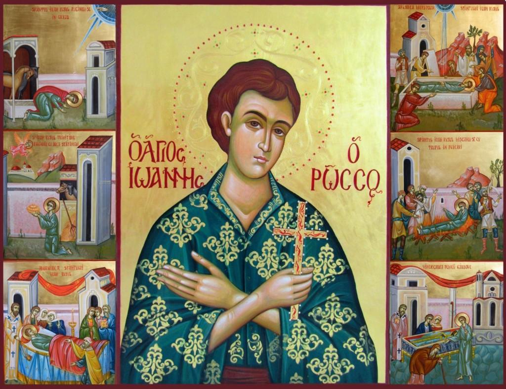 Sfantul Ioan Rusul, cu scene din viata- Icoana realizata pe lemn,in tehnica bizantina, cu foita de aur de 22k. Dimensiune panouri laterale 25x 85 cm , icoana centrala 85 x60 cm.