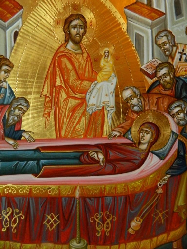 Adormirea Maicii Domnului-DETALIU- Icoana pe lemn, realizata in tehnica bizantina cu foita de aur de 22k. Dimensiune 40 X35 cm