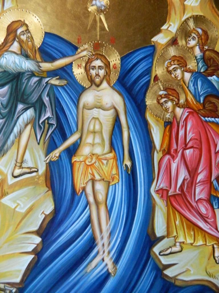 Botezul Domnului Hristos- Icoana pe lemn, realizata in tehnica bizantina cu foita de aur de 22k. Dimensiune 40 X35 cm