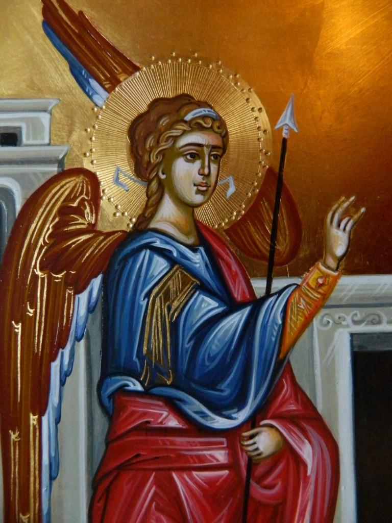 Intrarea Maicii Domnului in Biserica- DETALIU-Icoana pe lemn, realizata in tehnica bizantina cu foita de aur de 22k. Dimensiune 40 X35 cm
