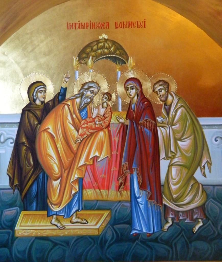 Intampinarea Domnului Hristos- Icoana pe lemn, realizata in tehnica bizantina cu foita de aur de 22k. Dimensiune 40 X35 cm