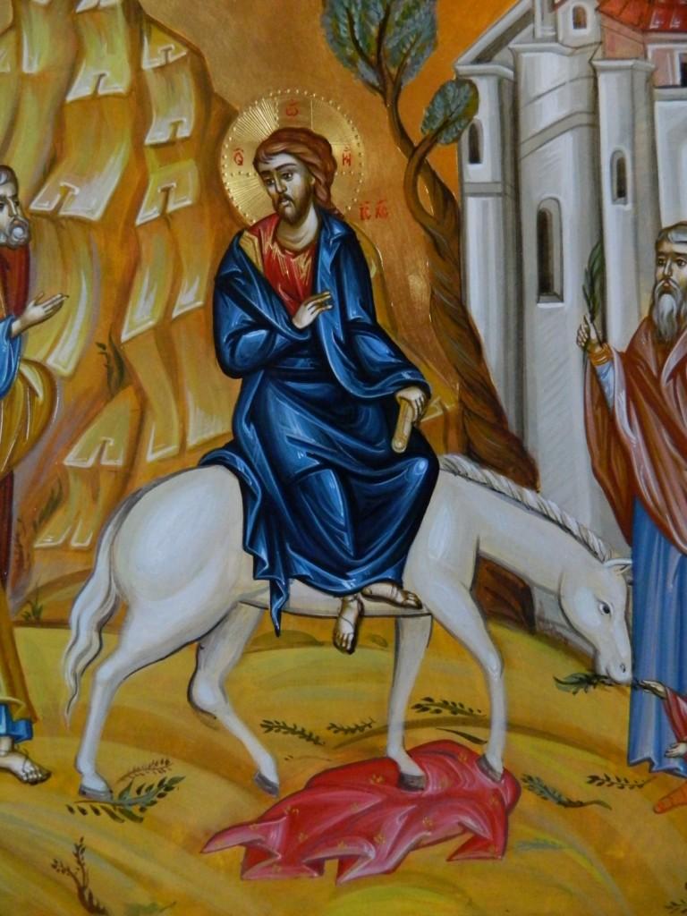 Intrarea in Ierusalim a Domnului Hristos- DETALIU_ Icoana pe lemn, realizata in tehnica bizantina cu foita de aur de 22k. Dimensiune 40 X35 cm