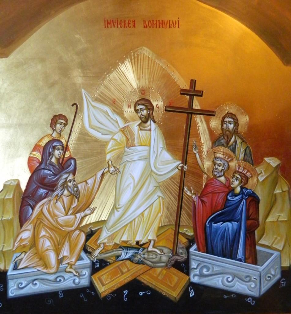 Invierea Domnului Hristos- Icoana pe lemn, realizata in tehnica bizantina cu foita de aur de 22k. Dimensiune 40 X35 cm