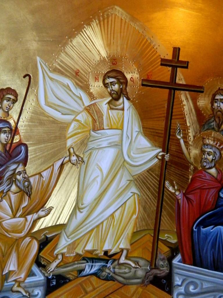 Invierea Domnului Hristos- DETALIU_Icoana pe lemn, realizata in tehnica bizantina cu foita de aur de 22k. Dimensiune 40 X35 cm
