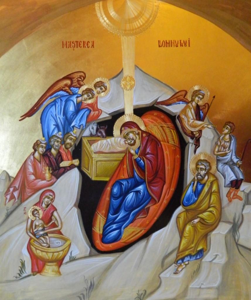 Nasterea Domnului Hristos- Icoana pe lemn, realizata in tehnica bizantina cu foita de aur de 22k. Dimensiune 40 X35 cm