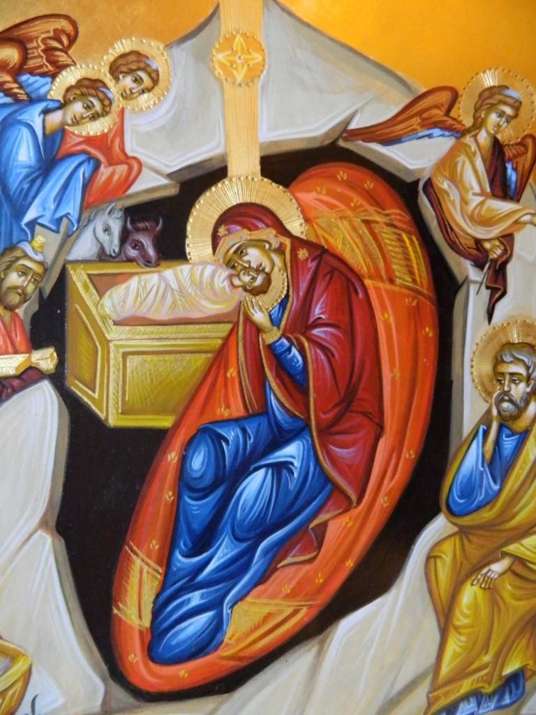 Nasterea Domnului Hristos DETALIU- Icoana pe lemn, realizata in tehnica bizantina cu foita de aur de 22k. Dimensiune 40 X35 cm