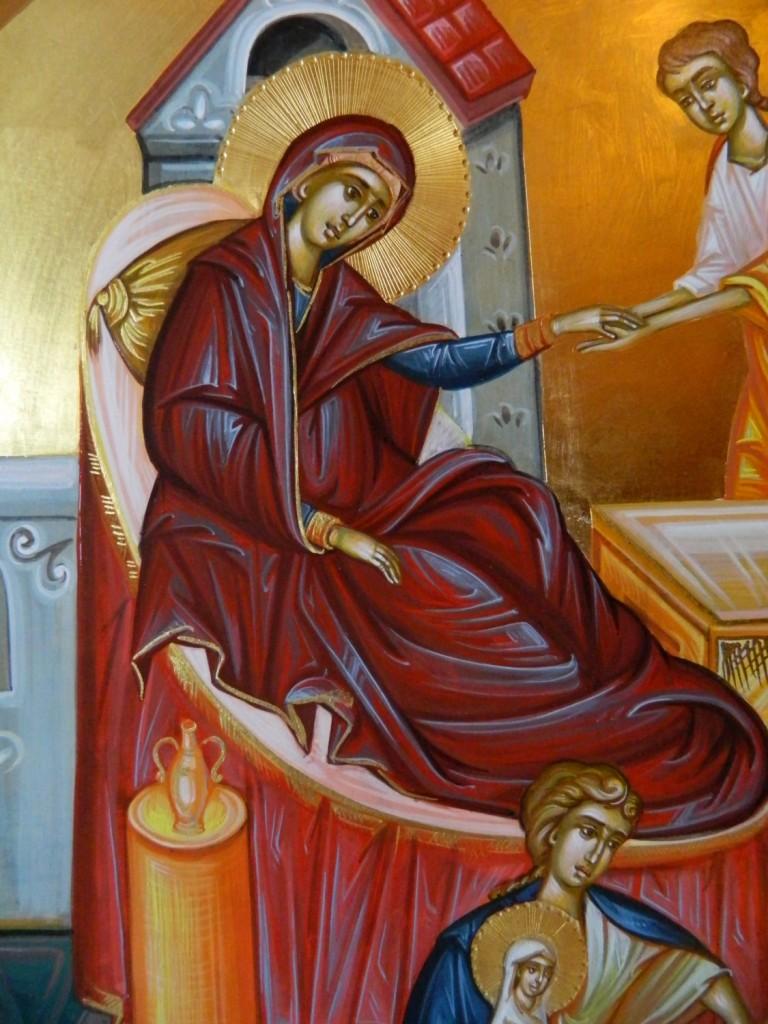 Nasterea Maicii Domnului- DETALIU_ Icoana pe lemn, realizata in tehnica bizantina cu foita de aur de 22k. Dimensiune 40 X35 cm