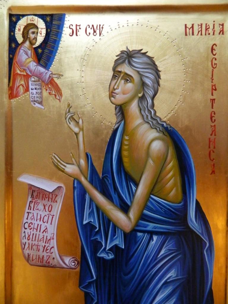 Sfanta Cuvioasa Maria Egipteanca - Icoana realizata in stil bizantin , cu foita de aur de 22k. Dimensiune A3( 42X30 cm).