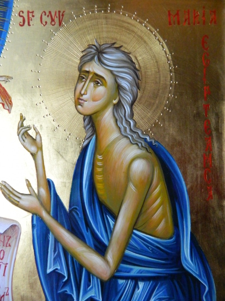 Sfanta Cuvioasa Maria Egipteanca  DETALIU_ - Icoana realizata in stil bizantin , cu foita de aur de 22k. Dimensiune A3( 42X30 cm).
