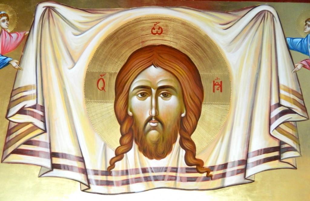 Sfanta Mahrama- DETALIU_ Icoana realizata pe lemn , in stil bizantin cu foita de aur de 22k. Dimensiune de 120X40 cm