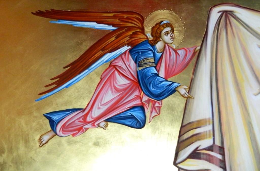 Sfanta Mahrama- DETALIU_Icoana realizata pe lemn , in stil bizantin cu foita de aur de 22k. Dimensiune de 120X40 cm