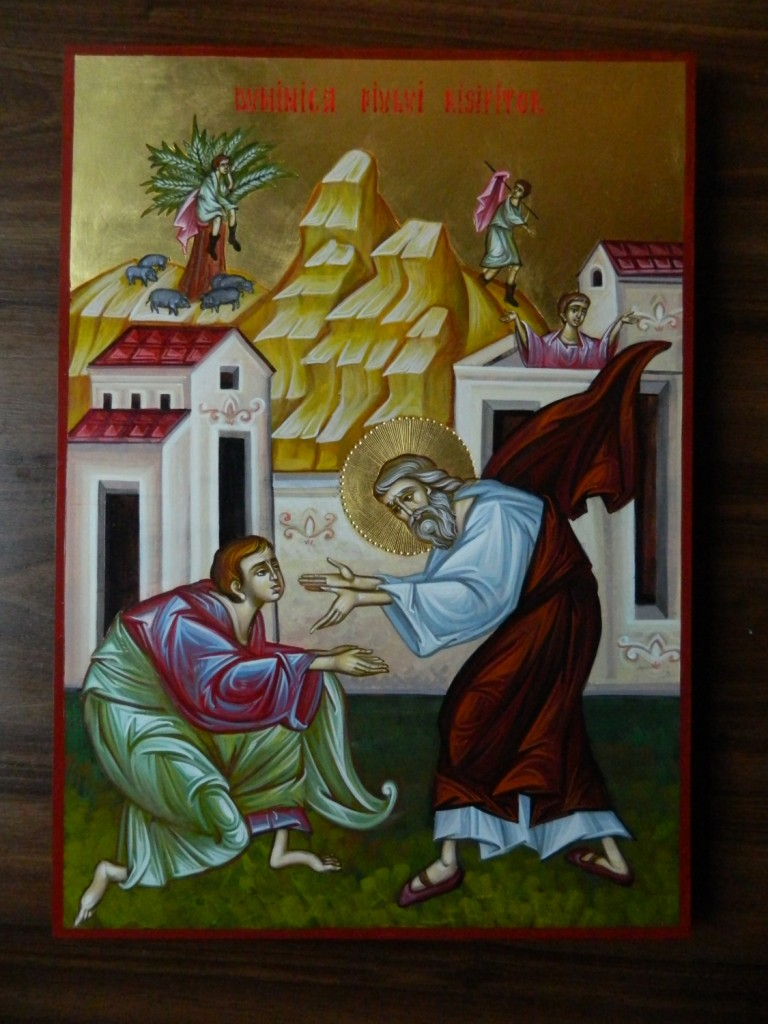 Intoarcerea Fiului Risipitor- Icoana realizata pe lemn, in stil bizantin cu foita de aur de 22k. Dimensiune A3 ,42x30 cm