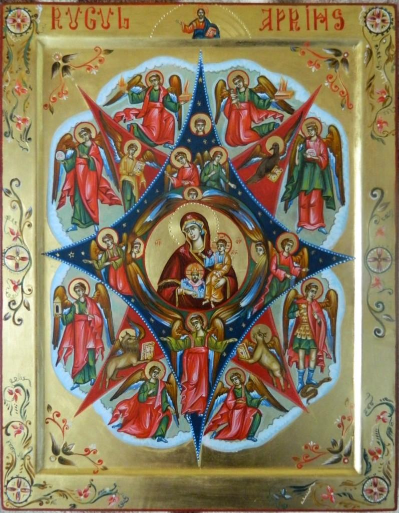 Maica Domnului RUGUL APRINS- Icoana realizata pe lemn, in stil bizantin cu foita de aur de 22k . Dimensiune 35X45cm