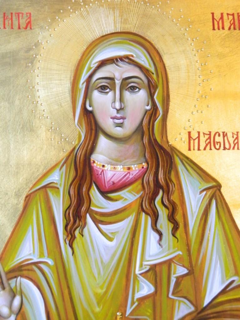 Sfanta Maria Magdalena Mironosita- DETALIU_ Icoana pe lemn , realizata in tehnica bizantina , cu foita de aur de 22k. Dimensiunea A3 ( 42X30 ) cm