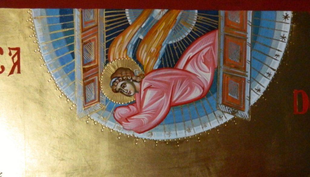 Adormirea Maicii Domnului-DETALIU_ Icoana realizata pe lemn, in tehnica bizantina, cu foita de aur de 22 k.  Dimensiune 82X60cm