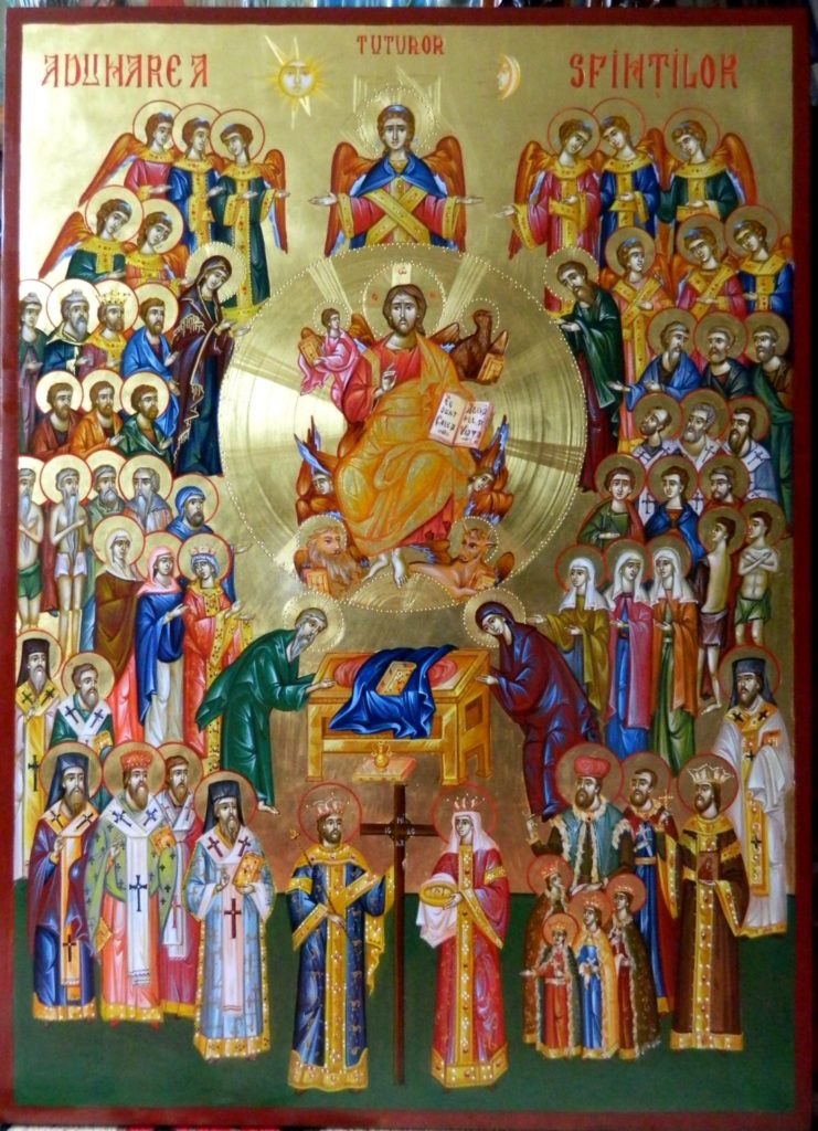 Icoana ADUNARII TUTUROR SFINTILOR- Icoana realizata pe lemn , in tehnica bizantina, pigmenti minerali si emulsie de ou, cu foita de aur de 22k . Dimensiuni 91X66cm