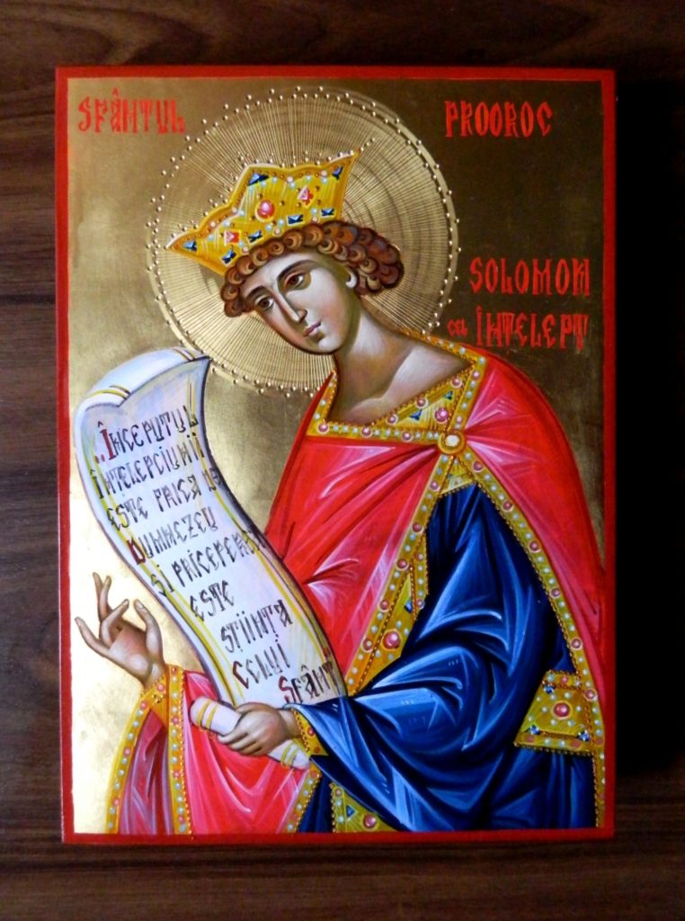 Sf Prooroc Solomon- Icoana realizata pe lemn in tehnica bizantina, cu foita de aur de 22k. Dimensiune A4