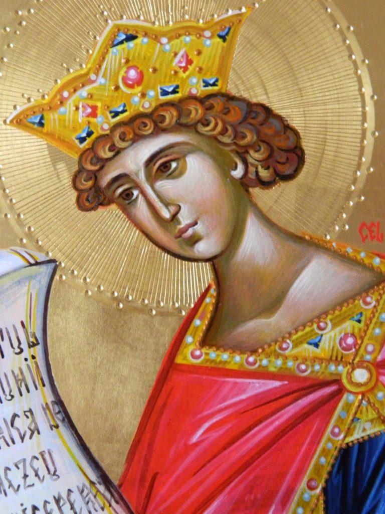 Sf Prooroc Solomon- DETALIU_Icoana realizata pe lemn in tehnica bizantina, cu foita de aur de 22k. Dimensiune A4