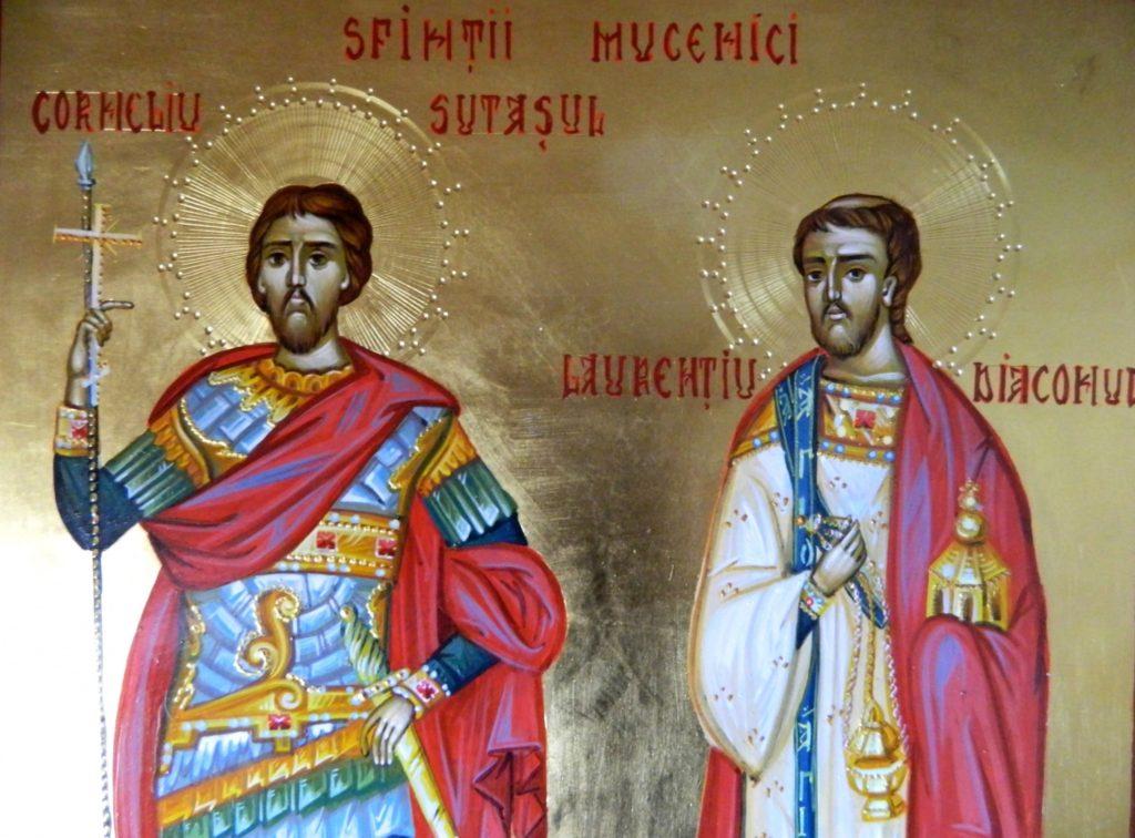 Sf Mc Corneliu Sutasul si SF Mc Laurentiu(Lavrentie)- DETALIU_ Icoana pictata pe lemn, in stil bizantin cu foita de aur de 22 k. Dimensiune A3 ( 30X42cm)