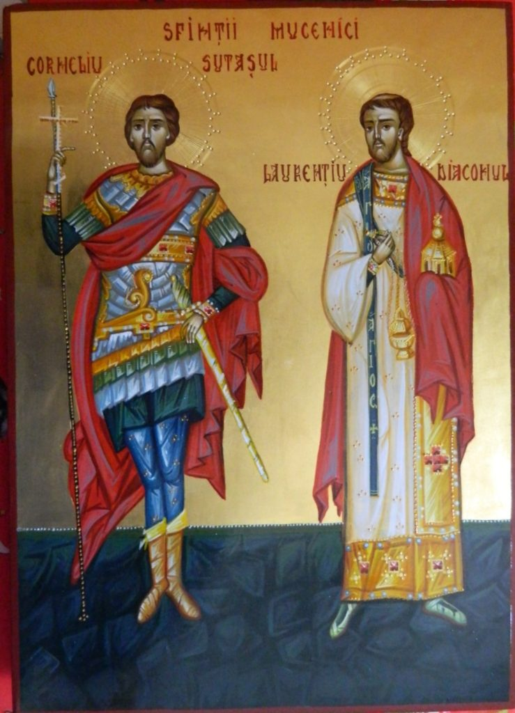 Sf Mc Corneliu Sutasul si SF Mc Laurentiu(Lavrentie)- Icoana pictata pe lemn, in stil bizantin cu foita de aur de 22 k. Dimensiune A3 ( 30X42cm)