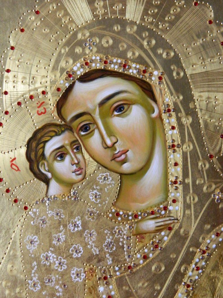 Maica Domnului - DETALIU_Cautatoarea celor pierduti- Icoana realizata pe lemn, in stil bizantin,cu foita de aur de 22k si de 24k. Dimensiune A3 30 X42 cm