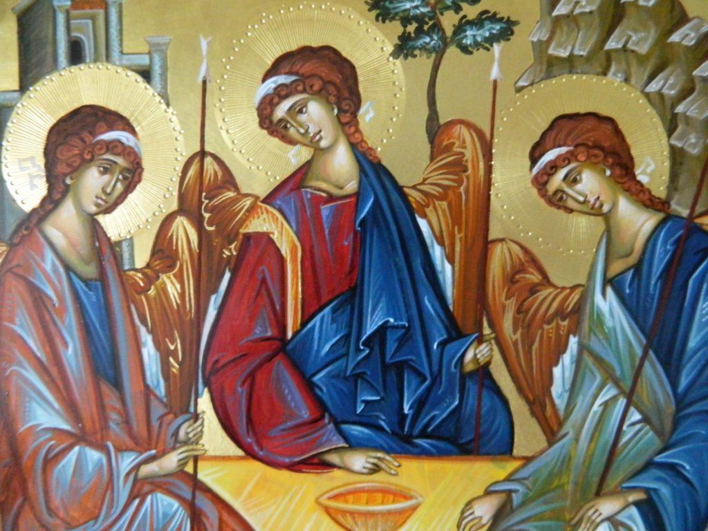 Sfanta TREIME- DETALIU_ Icoana realizata pe lemn , in stil bizantin , cu foita de aur de 22k. Dimensiune A3 (30x42 cm)