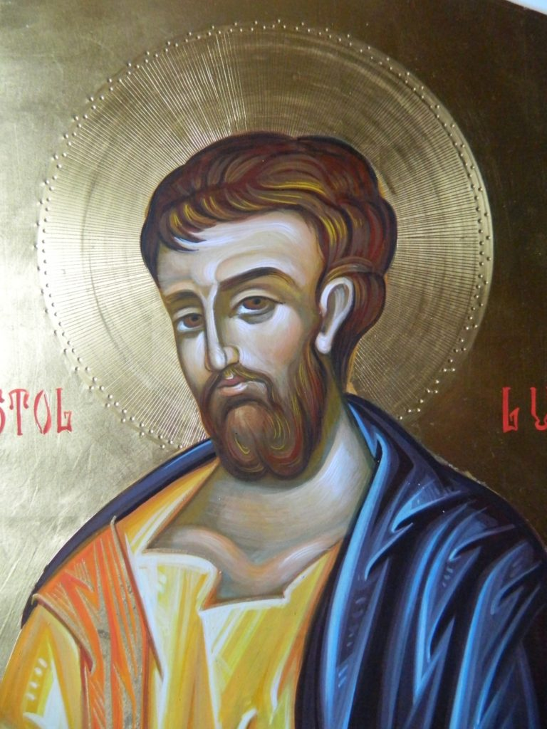 Sfantul Apostol   si Evanghelist LUCA_ Detaliu- Icoana realizata pe lemn , in tehnica bizantina,cu foita de aur de 22k.  Dimensiune 30X42cm